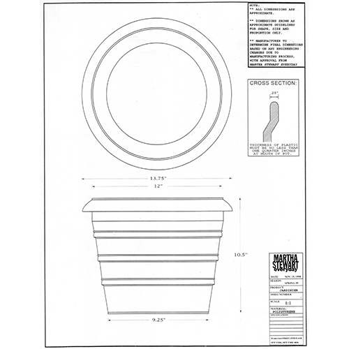 Martha Stewart Everyday Ring Planter Drawing