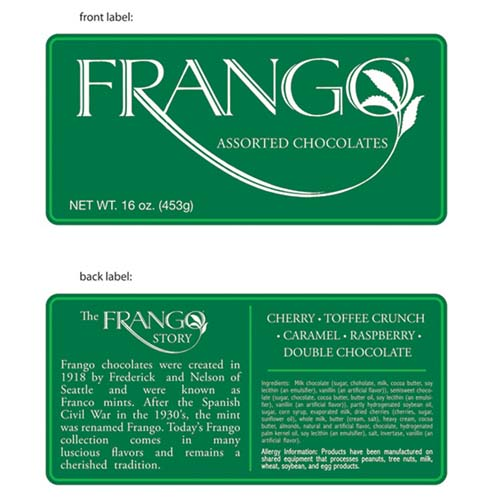 Front And Back Covers - Frango Candy Packaging